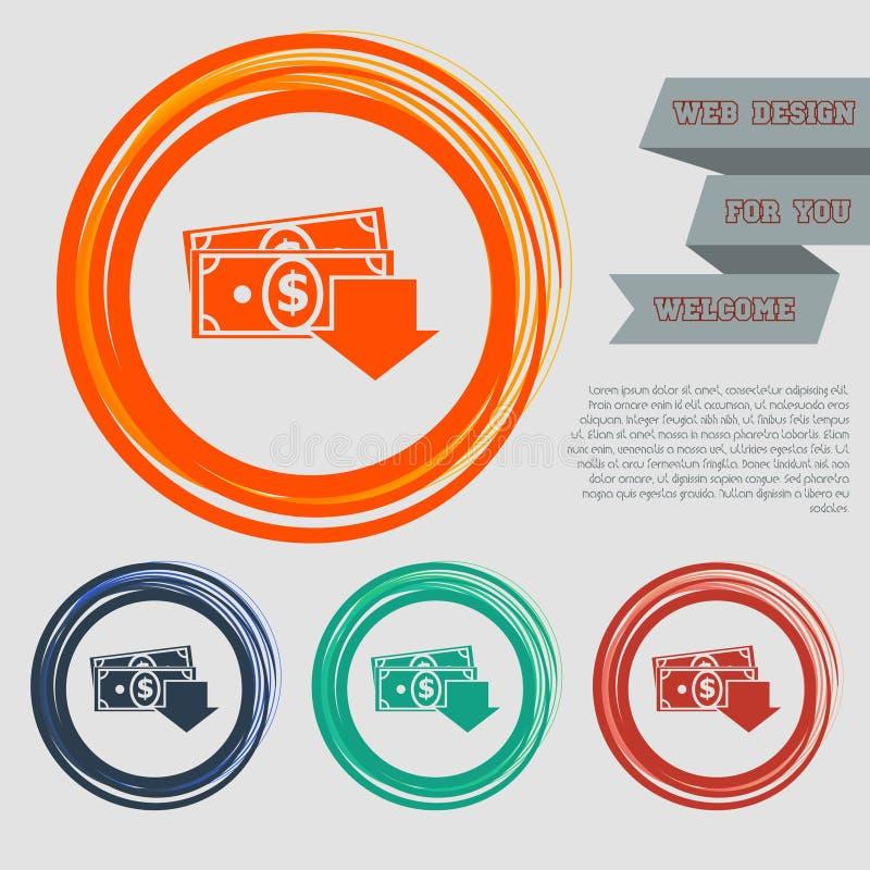 Het pictogram van het geldcontante geld op de rode, blauwe, groene, oranje knopen voor uw website en ontwerp met ruimteteksten stock illustratie