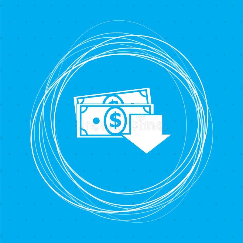 Het pictogram van het geldcontante geld op een blauwe achtergrond met abstracte cirkels rond en plaats voor uw tekst royalty-vrije illustratie