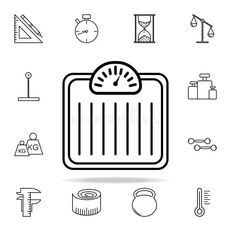 Het pictogram van gewichtsschalen Voor Web wordt geplaatst dat en het mobiele algemene begrip van Meetinstrumentenpictogrammen royalty-vrije illustratie