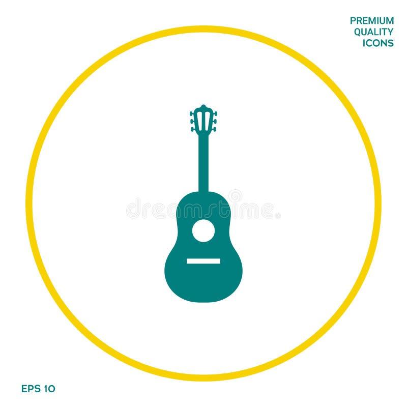 Het pictogram van het gitaarsymbool Grafische elementen voor uw ontwerp stock illustratie