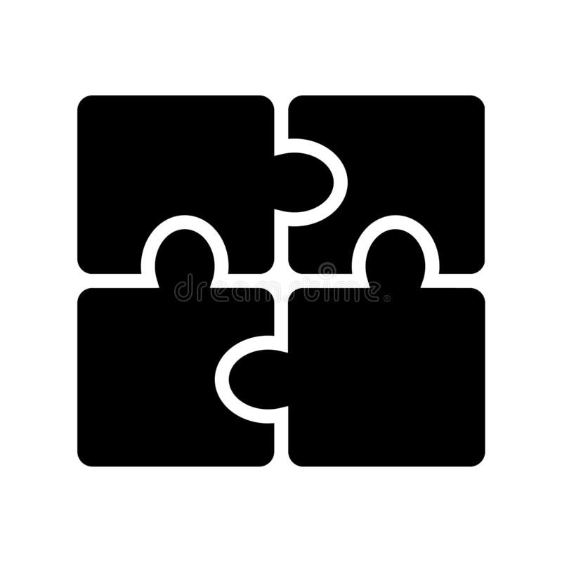 Het pictogram van het Glyphraadsel 4 van het raadselstukken ontwerp Eenvoudige Vector Ge?soleerde Illustratie royalty-vrije illustratie