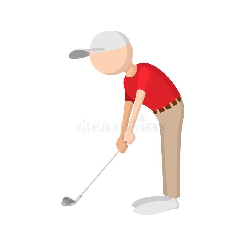 Het pictogram van het golfspelerbeeldverhaal vector illustratie