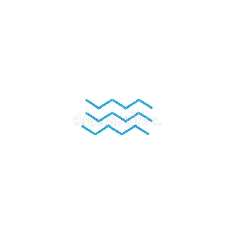 Het pictogram van het golvenoverzicht, moderne minimale vlakke ontwerpstijl Symbool van de golf het dunne lijn, vectorillustratie royalty-vrije illustratie