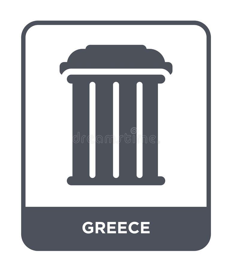 het pictogram van Griekenland in in ontwerpstijl het pictogram van Griekenland op witte achtergrond wordt geïsoleerd die vector h stock illustratie