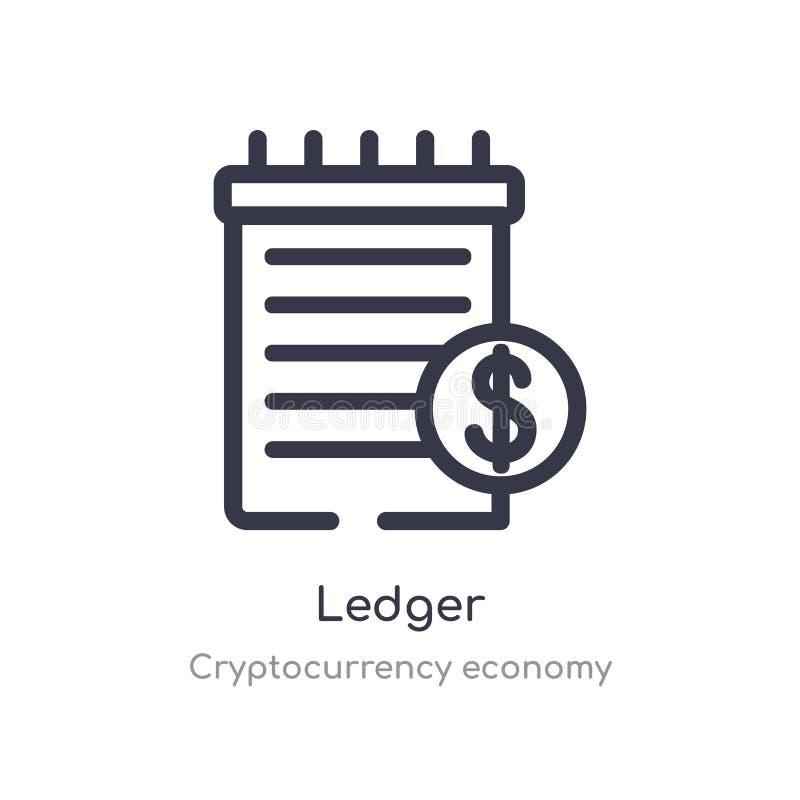 het pictogram van het grootboekoverzicht ge?soleerde lijn vectorillustratie van de inzameling van de cryptocurrencyeconomie het e royalty-vrije illustratie