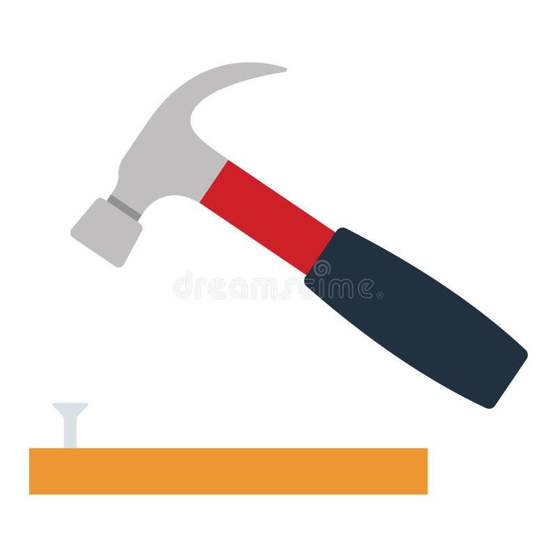 Download Het Pictogram Van Hamer Sloeg Aan Spijker Vector Illustratie - Illustratie bestaande uit instrument, ontwerp: 107703065