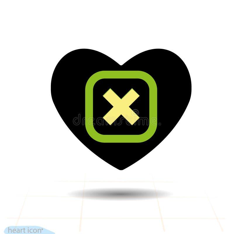 Het Pictogram van het hart Een symbool van liefde Valentine-de dag met het dichte teken van de groene schrapping, annuleert Vlakk stock illustratie
