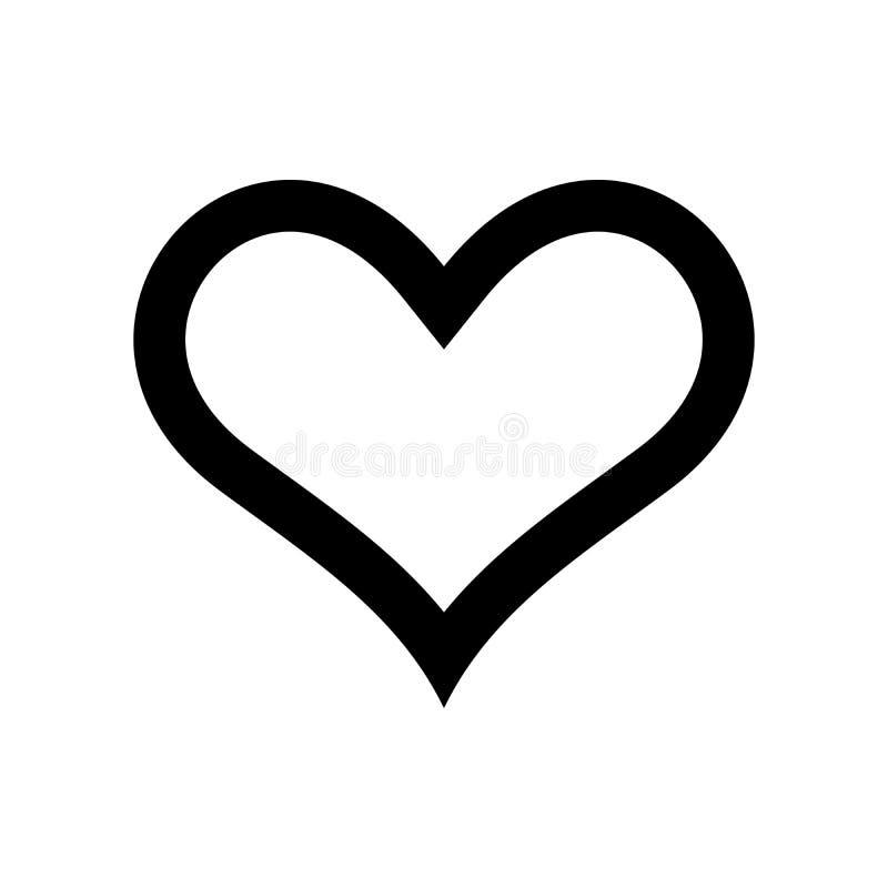 Het Pictogram van het hart Symbool van liefde en van Heilige Valentijnskaartendag Eenvoudige vlakke zwarte dikke overzichts vecto vector illustratie