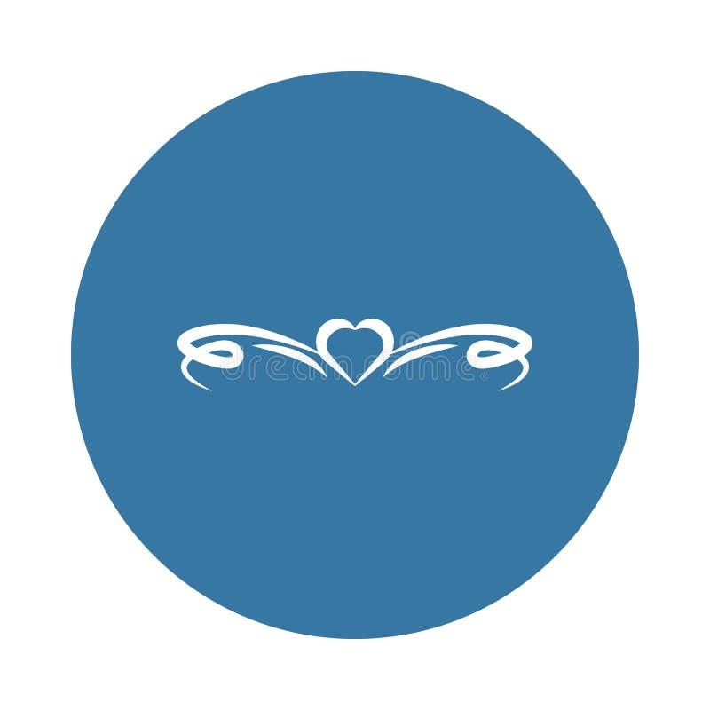 Het pictogram van het hartornament Element van ornamentenpictogrammen voor mobiel concept en Web apps Het pictogram van het het h royalty-vrije illustratie