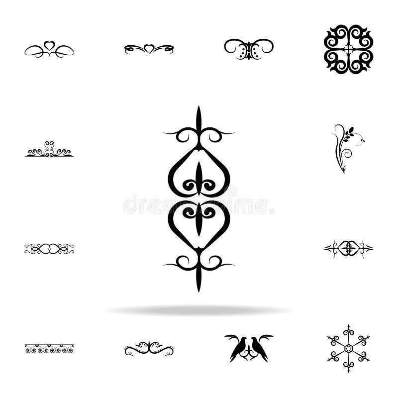 Het pictogram van het hartornament Voor Web wordt geplaatst dat en het mobiele algemene begrip van ornamentenpictogrammen stock illustratie