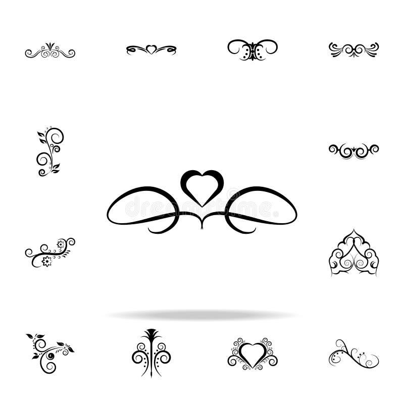 Het pictogram van het hartornament Voor Web wordt geplaatst dat en het mobiele algemene begrip van ornamentenpictogrammen royalty-vrije illustratie
