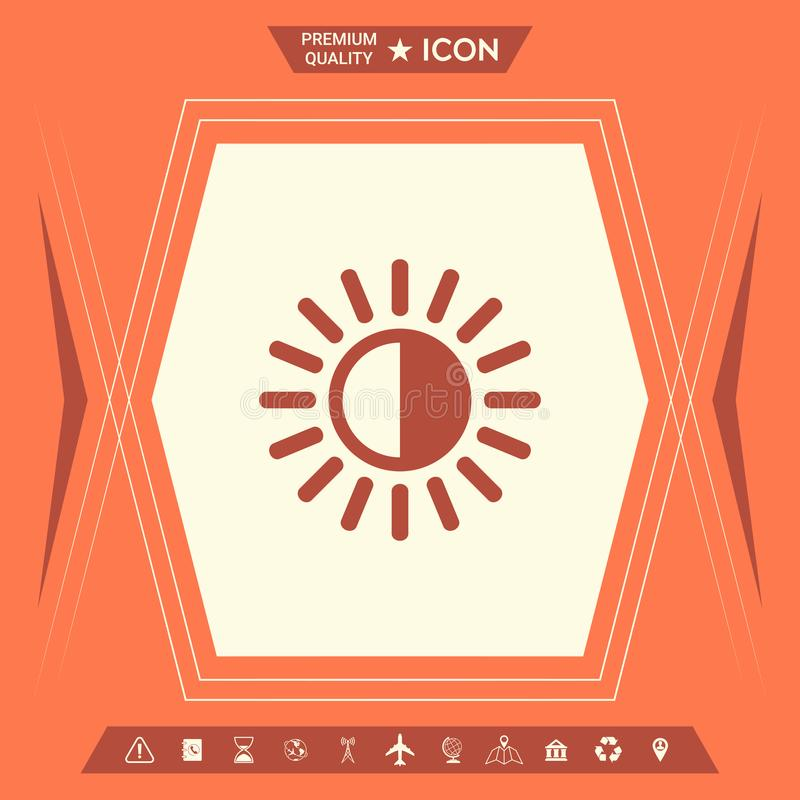 Het pictogram van het helderheidssymbool vector illustratie