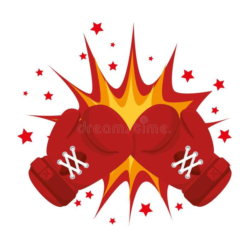 Het pictogram van het bokshandschoenenmateriaal vector illustratie