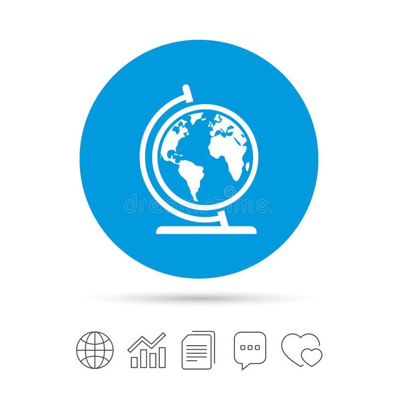 Het pictogram van het bolteken De aardrijkskundesymbool van de wereldkaart vector illustratie