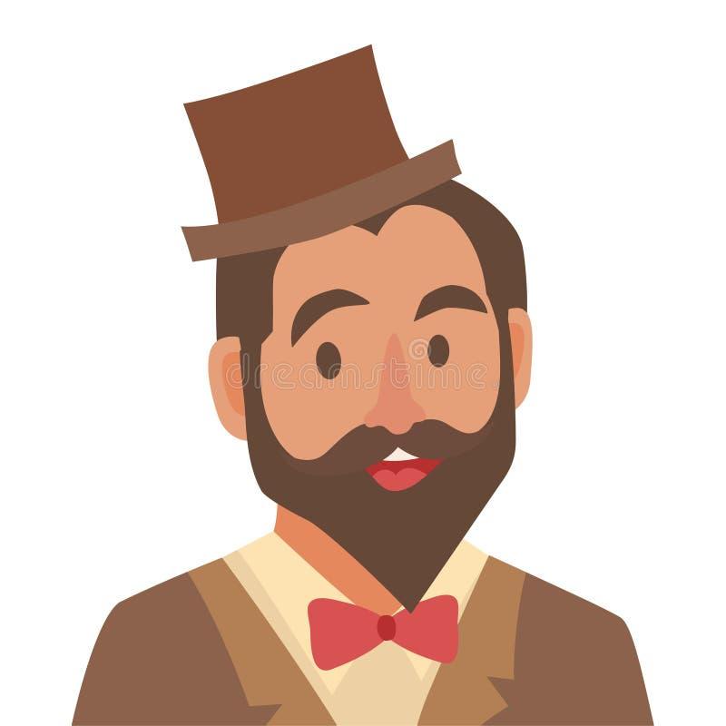 Het pictogram van het bruidegombeeldverhaal Vlakke mens Gebaarde mens in hoed en vlinderdas De illustratie van het mensenpictogra royalty-vrije illustratie