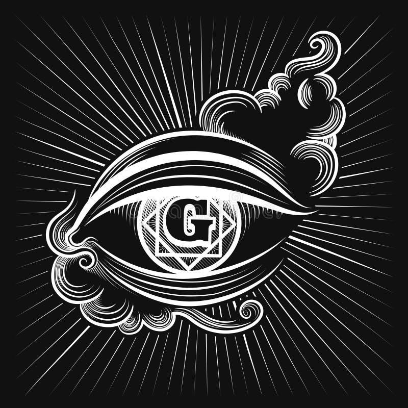 Het pictogram van het de godsoog van Egypte royalty-vrije illustratie