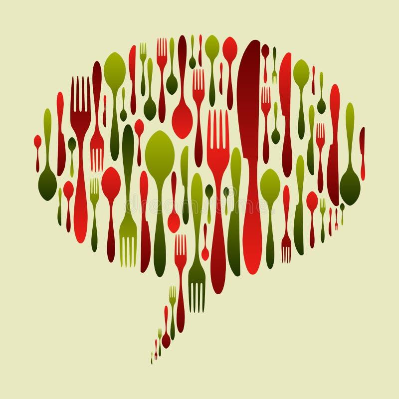 Het pictogram van het de kleurenbestek van Kerstmis dat in bellenvorm wordt geplaatst royalty-vrije illustratie
