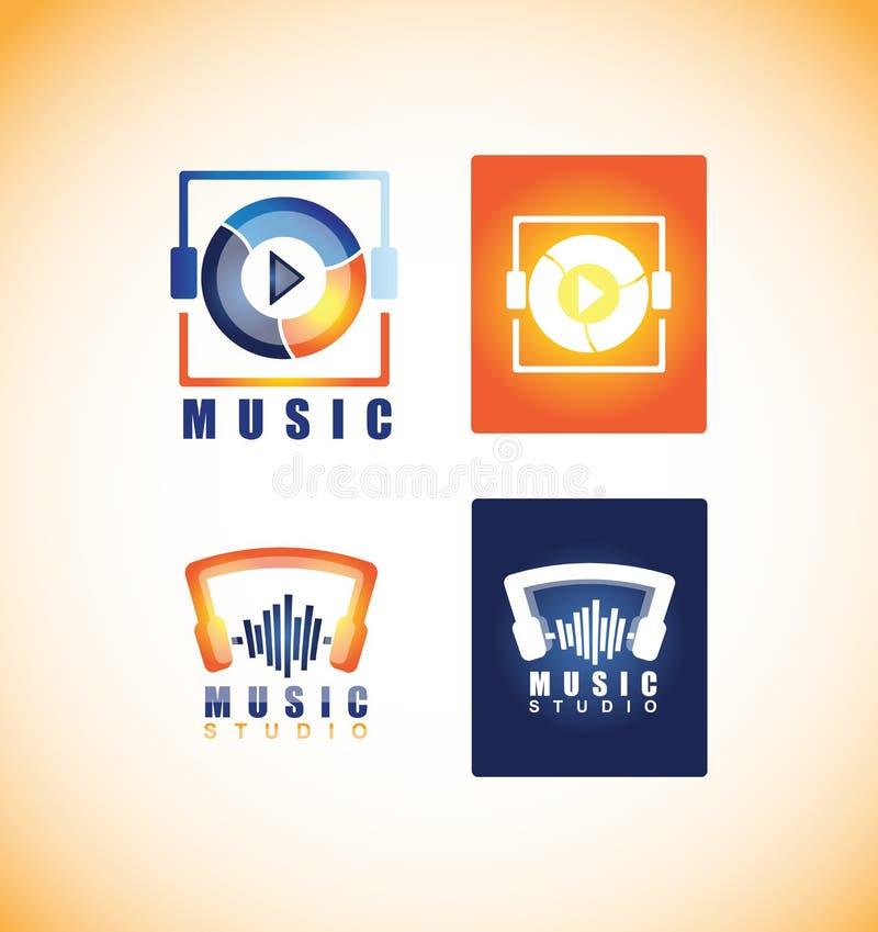 Het pictogram van het de studioembleem van de muziekspeler stock illustratie