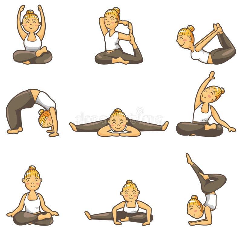 Het pictogram van het de yogameisje van het beeldverhaal stock illustratie