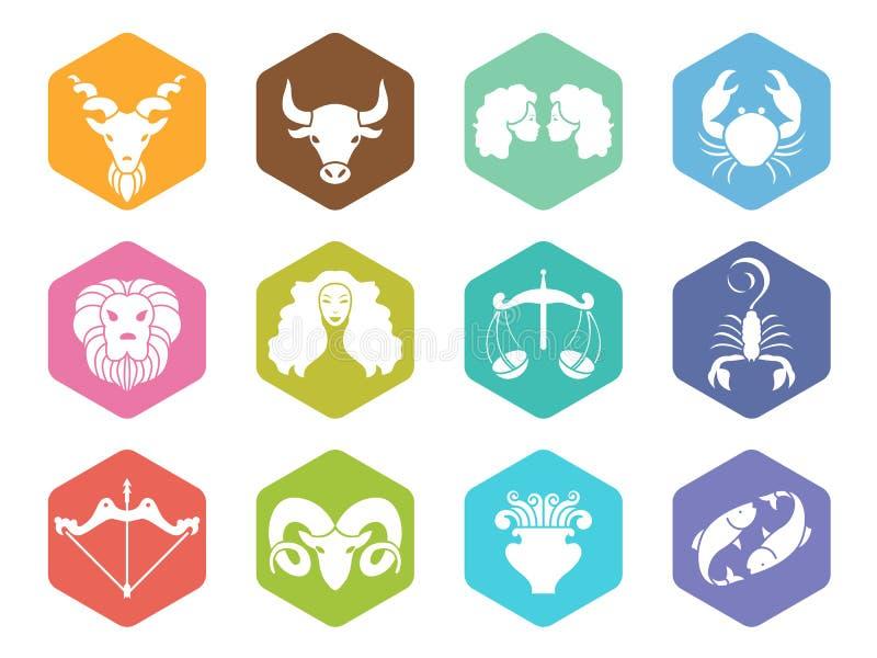 Het pictogram van het dierenriemteken op hexagon vector vastgesteld ontwerp royalty-vrije illustratie