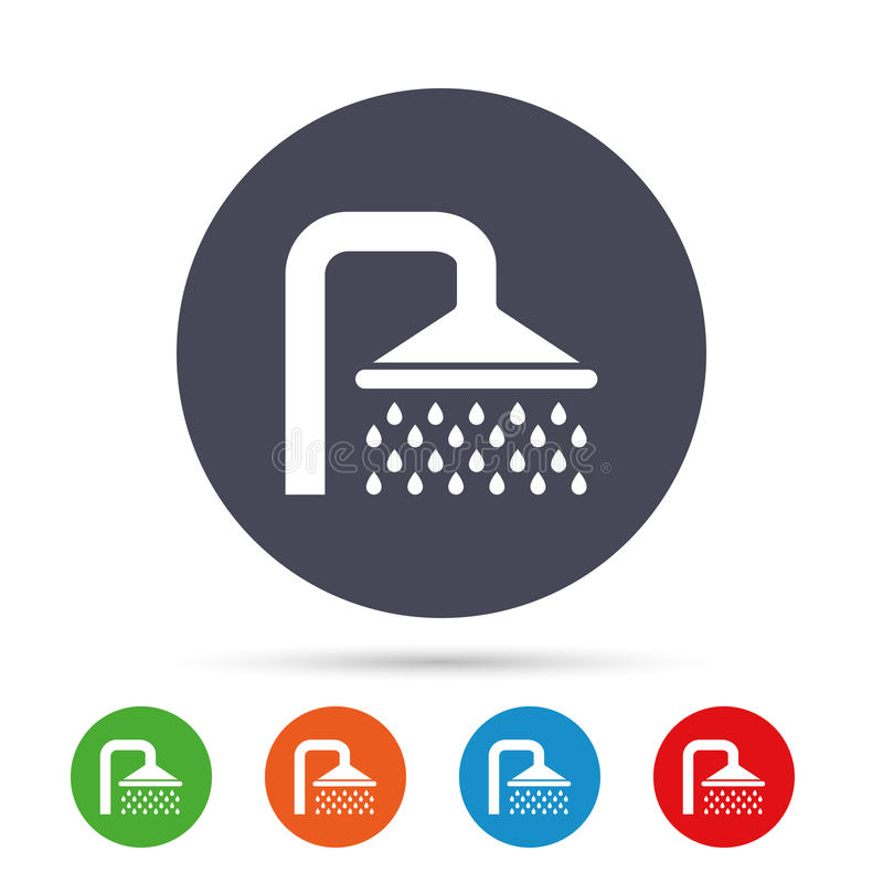 Het pictogram van het doucheteken Irrigatie met het symbool van waterdalingen vector illustratie