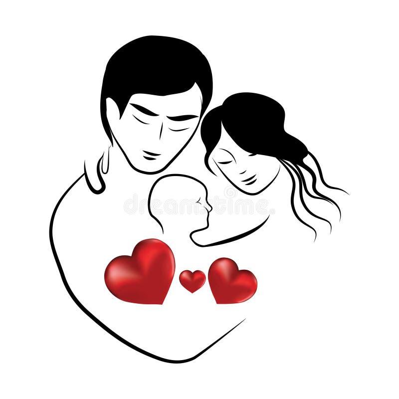 Het pictogram van het familiehart, de schets van symboolouders van mooi jong echtpaar die weinig kind vectorillustratie koesteren vector illustratie