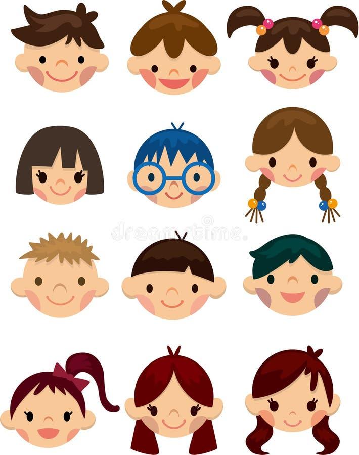 Het pictogram van het het kindgezicht van het beeldverhaal stock illustratie