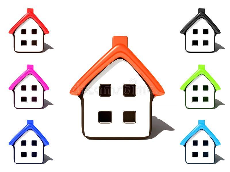 Het pictogram van het huis op wit stock illustratie