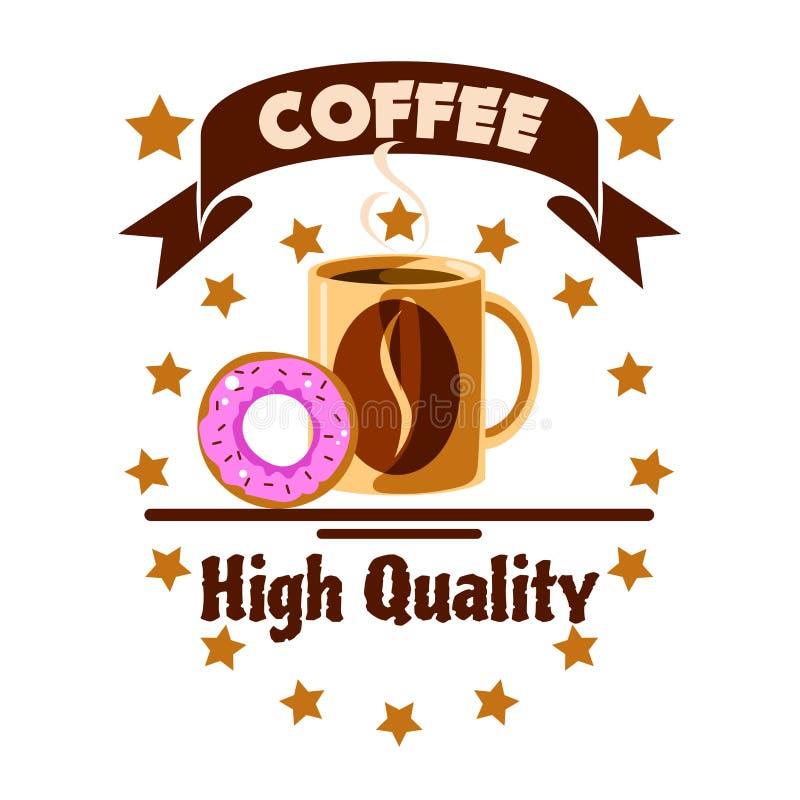 Het pictogram van het koffiemenu De kop en de doughnut van de koffie vector illustratie