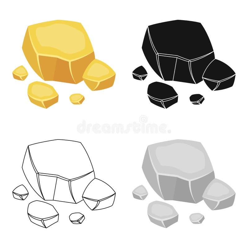 Het pictogram van het kopererts in beeldverhaalstijl op witte achtergrond wordt geïsoleerd die Kostbare mineralen en de voorraadv vector illustratie
