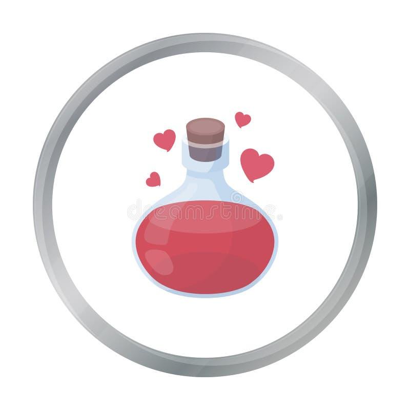 Het pictogram van het liefdedrankje in beeldverhaalstijl op witte achtergrond wordt geïsoleerd die De zwart-witte magische vector stock illustratie