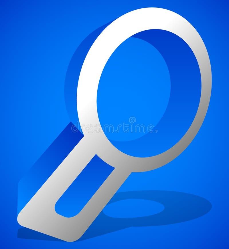 Het pictogram van het Magnfierglas Het gezoem, onderzoekt, onderzoek, raadpleging, onderzoek naar stock illustratie