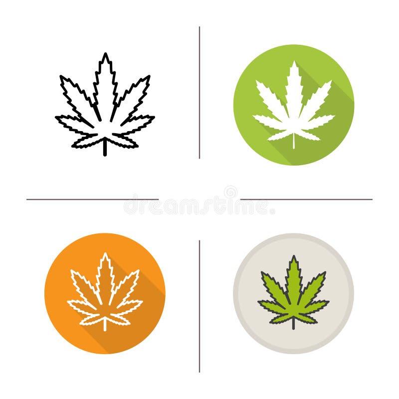 Het pictogram van het marihuanablad royalty-vrije illustratie