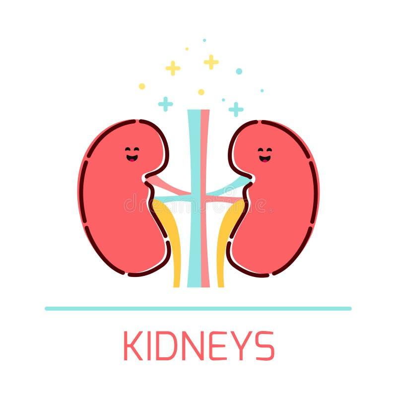 Het pictogram van het nierbeeldverhaal royalty-vrije illustratie