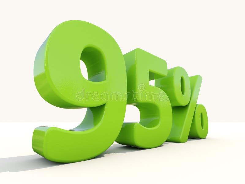 95% het pictogram van het percentagetarief op een witte achtergrond stock foto