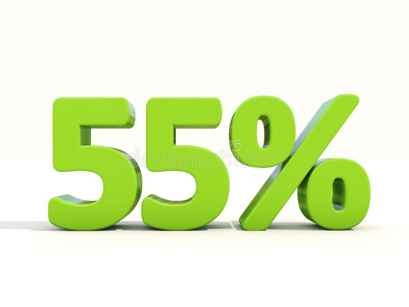 55% het pictogram van het percentagetarief op een witte achtergrond royalty-vrije stock afbeeldingen