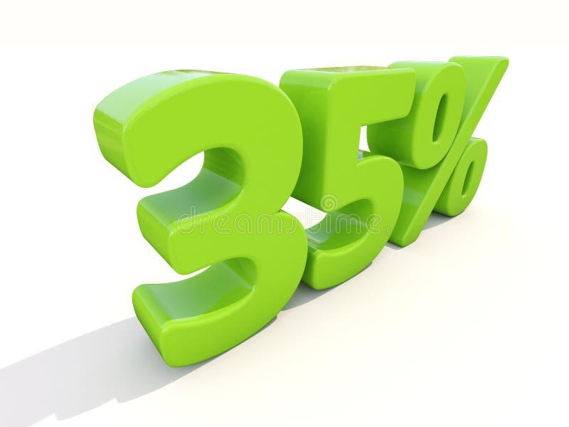 35% het pictogram van het percentagetarief op een witte achtergrond royalty-vrije stock afbeeldingen