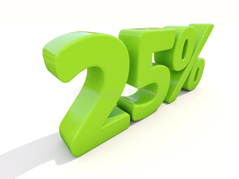 25% het pictogram van het percentagetarief op een witte achtergrond royalty-vrije stock afbeeldingen