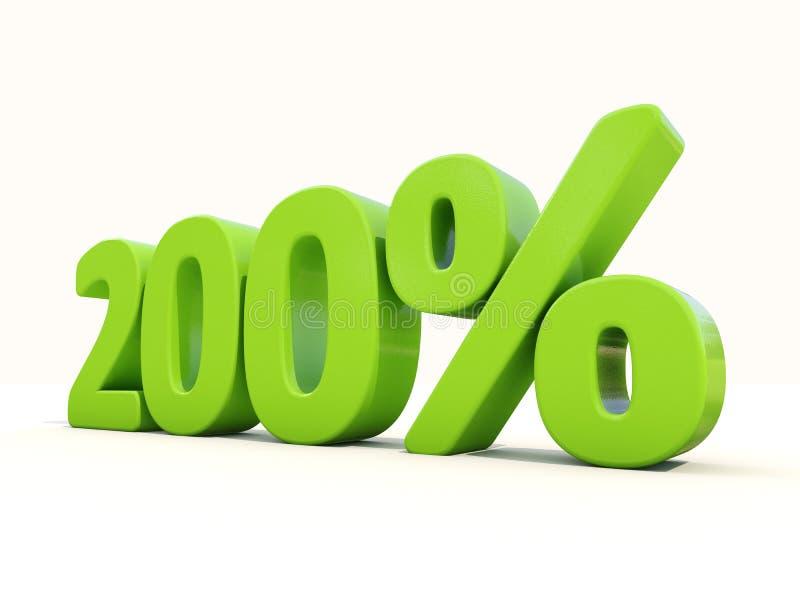 200% het pictogram van het percentagetarief op een witte achtergrond stock foto's