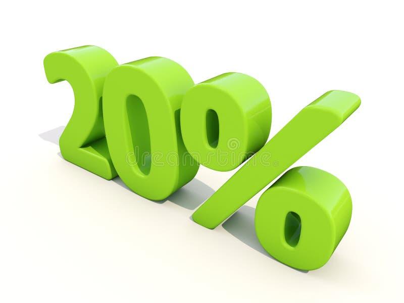 20% het pictogram van het percentagetarief op een witte achtergrond stock afbeelding