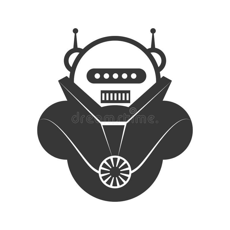 Het pictogram van het robotbeeldverhaal Machineontwerp Grafische vector stock illustratie