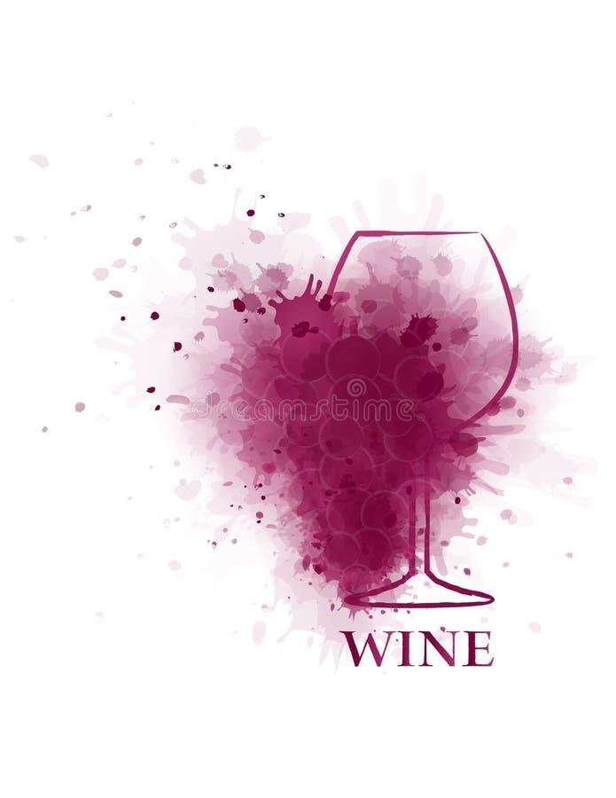 Het pictogram van het rode wijnglas met druif stock illustratie