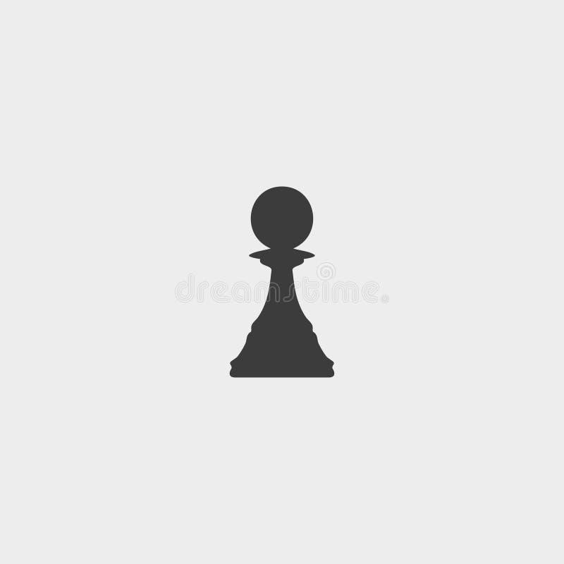 Het pictogram van het schaakpand in een vlak ontwerp in zwarte kleur Vector illustratie EPS10 stock illustratie