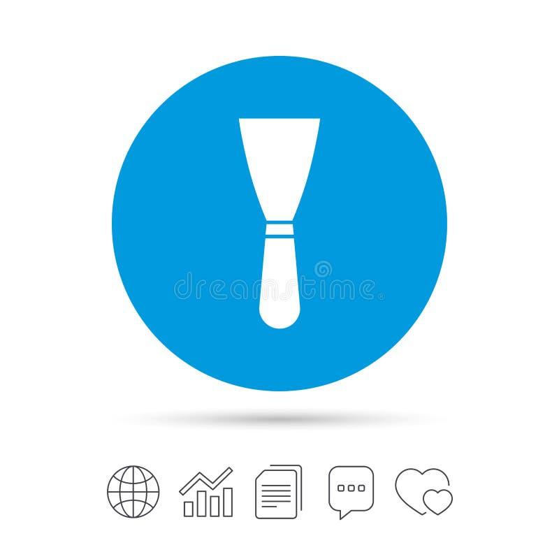 Het pictogram van het spatelteken Het hulpmiddelsymbool van de muurreparatie vector illustratie