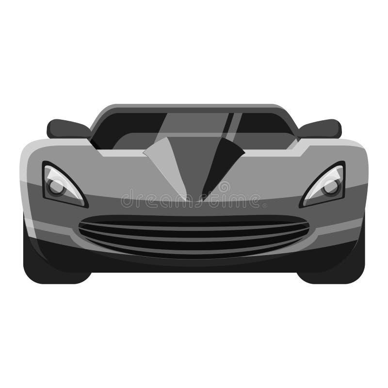 Het pictogram van het sportwagen vooraanzicht, grijze zwart-wit stijl royalty-vrije illustratie