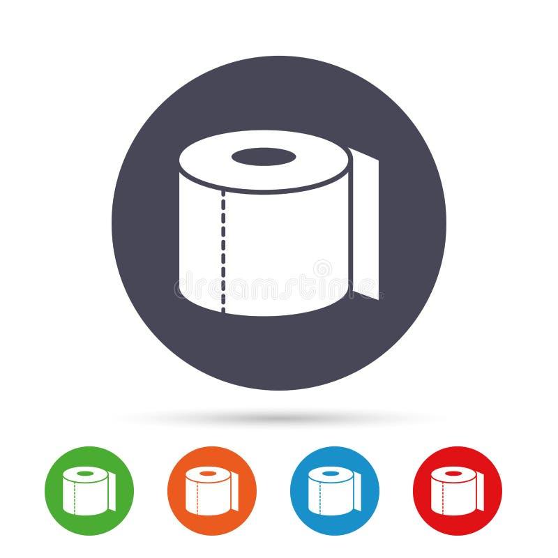 Het pictogram van het toiletpapierteken WC-broodjessymbool vector illustratie
