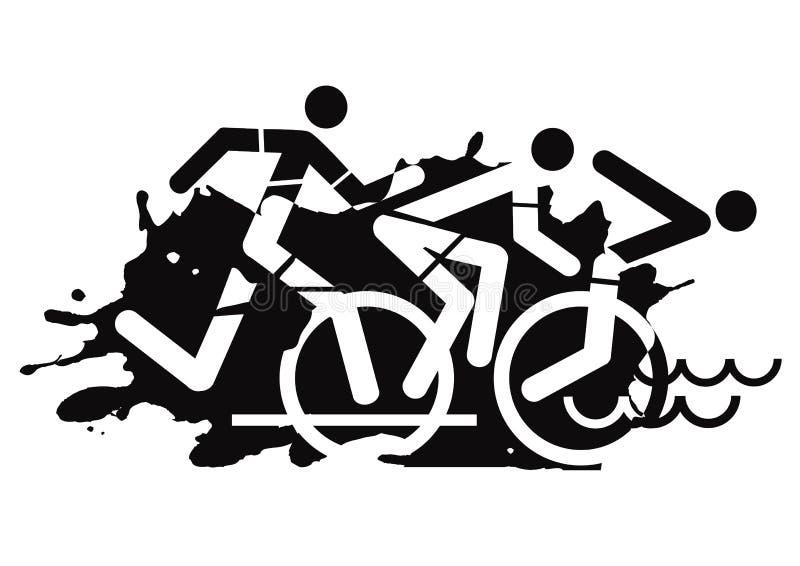 Het pictogram van het triatlonras grunge stock illustratie