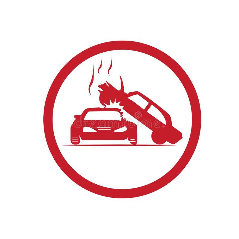 Het pictogram van het twee auto'songeval royalty-vrije illustratie