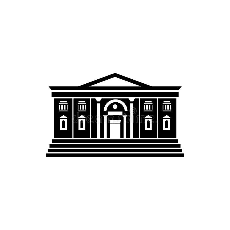 Het pictogram van het twee verdiepingsopenbare gebouw, eenvoudige stijl royalty-vrije illustratie