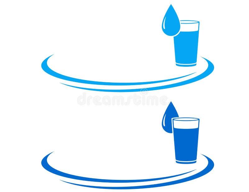 Het pictogram van het waterglas met daling royalty-vrije illustratie